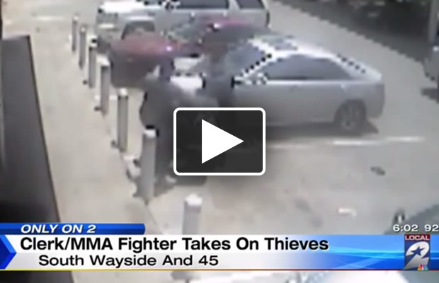 MMA Fighter stomps gas station robbers